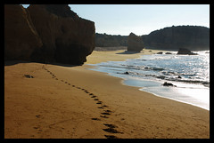 Man Friday (tanera) Tags: blue beach portugal water sand shadows path steps footprints bluesky cliffs algarve soe anywhere wwwtaneracouk httptaneracouk