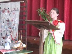 Выступает Воробьёва Анастасия с работой о куклах (2 место)