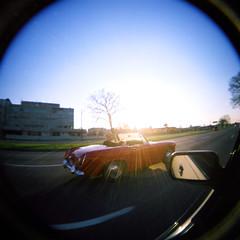 Woodward Ave @ sunset (paulhitz) Tags: blue sky usa fish color eye 120 film square holga spring lomo lomography michigan fisheye april woodward berkley fel fisheyelens supershot cfn120 holgacfn120 paulhitz