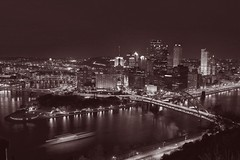 Pittsburgh: Black and white, with a hint of burgundy - by DeathByBokeh