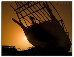 At The End of The Day (Hussain Shah.) Tags: kuwait doha port ship wooden boat sea nikon d50 nikkor 1855mm   silhouettes