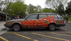 """Impeach! - car painted """"IMPEACH"""" - May Day"""