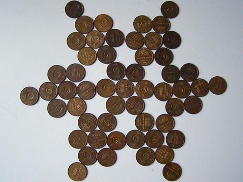 55 femöringar - five-öre coins