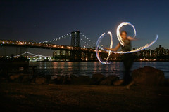 (Lobster Rocket) Tags: nyc bridge fire staff firespinning poi eastriver williamsburg practice wick sugarpark benfutureben nycsparkworks benbartelle