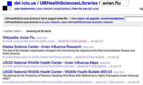 Del.icio.us: UM Health Sciences Libraries: Avian Flu