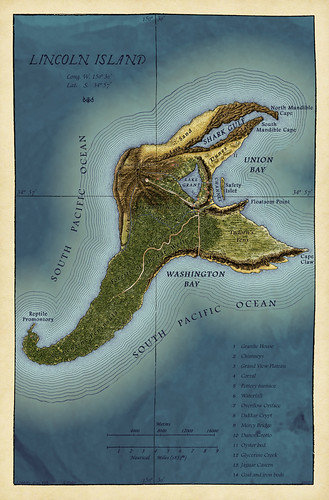 Map of Lincoln Island - The Mysterious Island