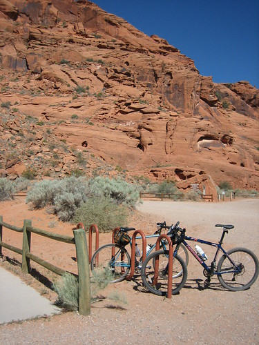 Our bicycles parked at a picnic area