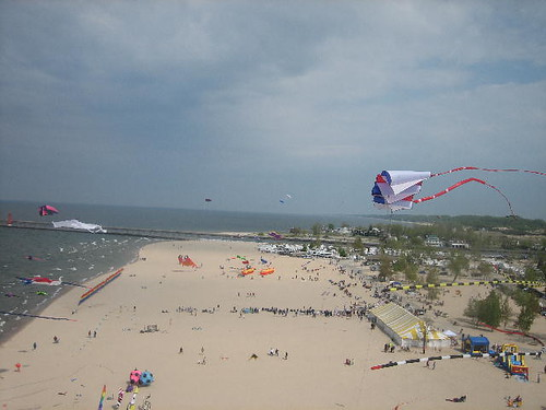 Aerial photo of the Grand Haven Kite Festival