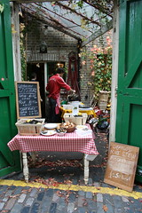 Columbia Road Flower Market (stefshots26) Tags: door food brick london table vines forsale cook cobblestone chalkboard columbiaroad checkertablecloth