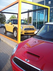 Mustard and ketchup new Mini-Coopers! (Steve Brandon) Tags: auto red ontario canada car geotagged automobile ottawa mini voiture bmw minicooper dealership britishcar newmini yellowcar  redandyellow subcompactcar compactcar redcarnation saintlaurentboulevard newminicooper stlaurentboulevard ogilvieroad   ottawaeast miniottawaeast