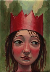 red crown (verpabunny) Tags: original red girl painting artwork oil crown kellyvivanco