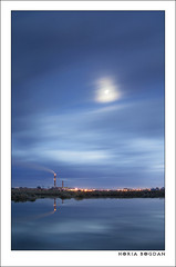 Moonlight (Horia Bogdan) Tags: city chimney moon reflection station clouds landscape factory smoke romania moonlight oradea bihor horiabogdan transylvaniaoradea