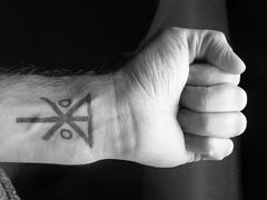 My first tattoo (Self-D) Tags: family blackandwhite white black tattoo ink hand symbol fist bodymod wrist left