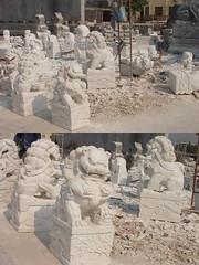 """您好:我们现在雕刻的石雕北京狮""""共3封其一""""(我中央美院嘉祥石雕厂刘斌)"""