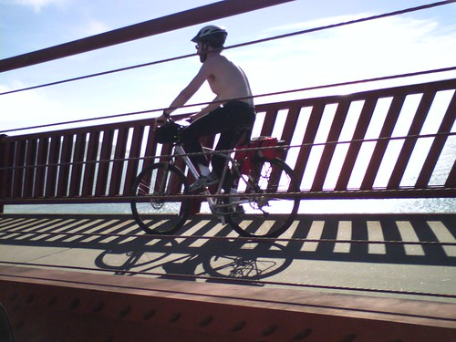 Biker on Bridge by pup ajax.
