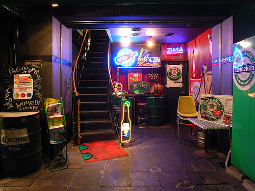 Stairs to enter a bar