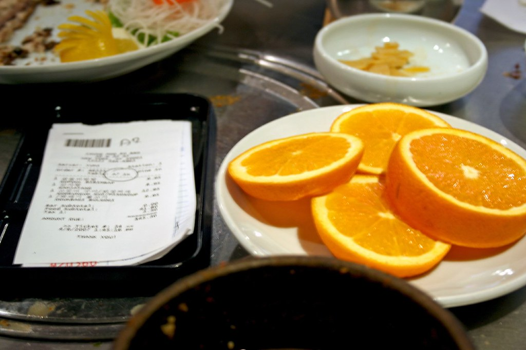 Check and Orange Slices