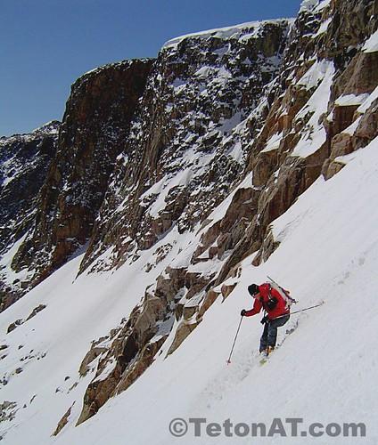 Randosteve skis below Freefall Wall