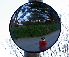 A (mimivk) Tags: road ireland red selfportrait reflection me mirror loveit jumper curved wexford rosslare wobbly redjumper burrowroad