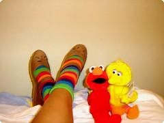 (barbara carneiro) Tags: color feet childhood socks cores sesamestreet meia p colorida garibaldo babileta infnica vilassamo