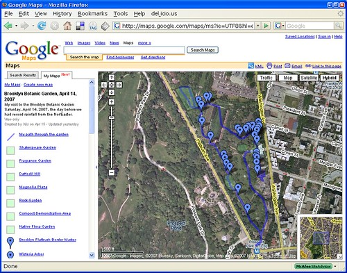 Google Map of my visit to the Brooklyn Botanic Garden on April 14, 2007