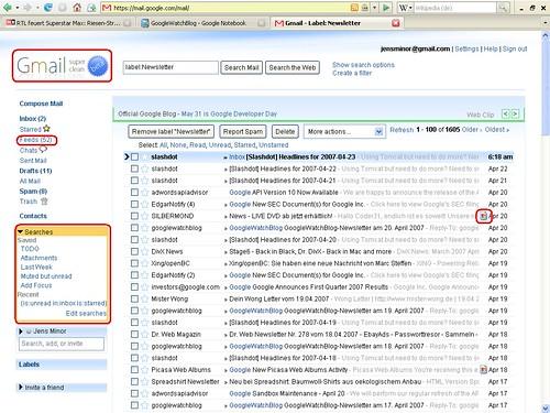 Better Google Mail im Einsatz