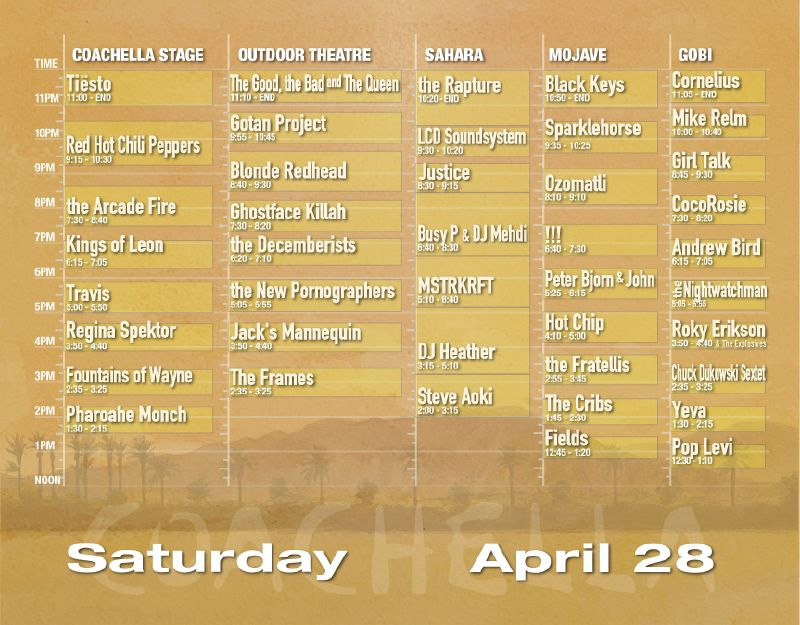Coachella 2007 Set Times - Saturday 4/28