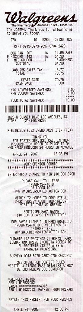 Walgreens receipt