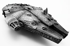 The Falcon Has Landed - Part II (cszar) Tags: bw 15fav topv111 toy starwars nikon d70 space wideangle tokina plastic scifi tabletop milleniumfalcon revell 1224mmf4