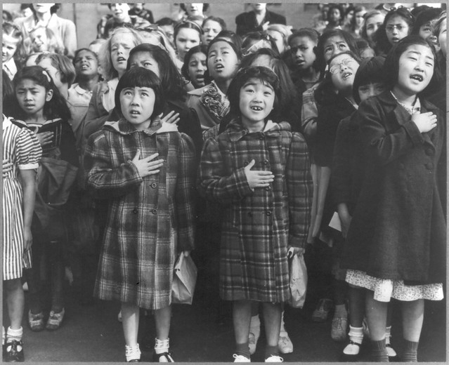 No Known Restrictions: Pledge of Allegiance by Dorothea Lange, San Francisco 1942 (LOC)