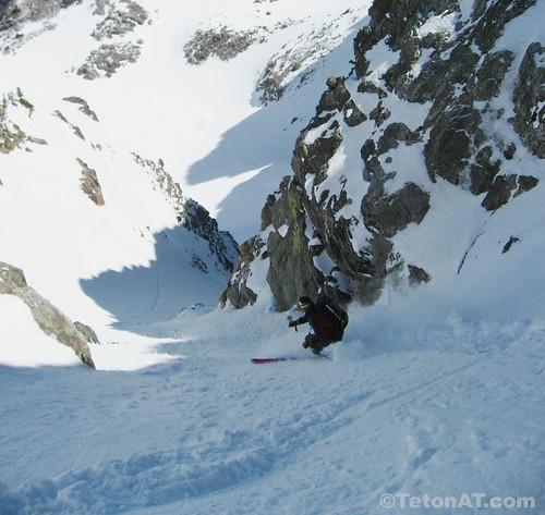 Skiing Rimrock Couloir