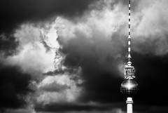 TV tower IV (manganite) Tags: windows sky bw sunlight reflection berlin monochrome clouds digital buildings germany geotagged nikon europe cross cloudy tl towers dramatic atmosphere monotone alexanderplatz d200 nikkor dslr mitte televisiontower peopleschoice tvtowers 10faves 18200mmf3556 utatafeature manganite nikonstunninggallery ipernity challengeyou challengeyouwinner superaplus aplusphoto date:year=2007 geo:lat=52509691 geo:lon=13377442 tvtowerset date:month=april date:day=6 stadtgetty2010