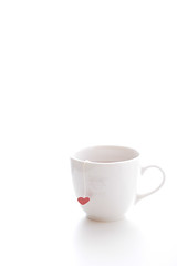 Lonely Tea Time (yoshiko314) Tags: red stilllife white cup alone quiet heart tea 100v10f calm heartwarming redheart stillness whiteonwhite redandwhite whiteground alemdagqualityonlyclub