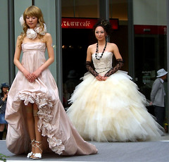 CIMG0165 (a-mole) Tags: show pink wedding woman white black flower girl smile fashion rose socks japan standing bride necklace model asia pretty dress legs lace longhair dreamy flowing gown weddingdress bridal gowns fashionshow nagano frills bridalgown whaiting
