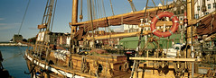 old sailing boat in bergen (ezioman) Tags: panorama norway analog docks design boat dock sailing ship panoramic bergen scandinavia bryggen analogic sailingboat oldsailingboat wooddenship