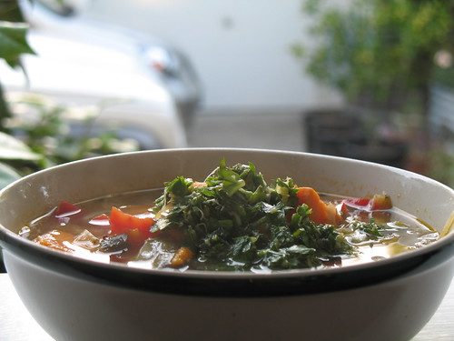 Yam and Black Bean Soup with Lemon Pistou