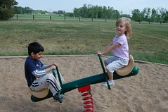 Sydney having fun on the teeter totter.