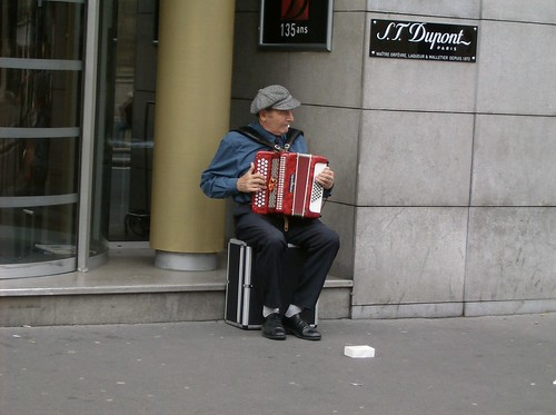 An accordion player