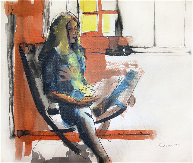 Old ink - Woman Reading