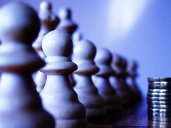 Chess . 2 / One in a million, looking for the prize (MeFirstO) Tags: blue money composition dof chess battle question pawn stake mefirsto olympusc7070wz