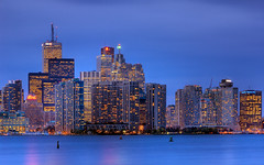 Blue Evening on Toronto Waterfront RAW (David Giral | davidgiralphoto.com) Tags: longexposure blue sky urban chien lighthouse toronto ontario canada david building skyline landscape lights evening nikon cityscape waterfront nightshot cloudy dusk district hour highrise entre loup bluehour d200 et financial phare heure giral magique nikond200 18200mmf3556gvr entrechienetloup copyrightdgiral davidgiral anawesomeshot impressedbeauty superbmasterpiece travelerphotos