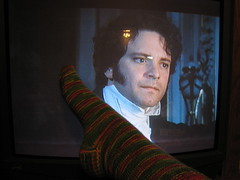 Colin Firth loves my new sock (christijnp) Tags: tree wool colin cherry knitting sock hill first firth