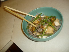 Japanese Soba noodles w/ ginger chicken, green beans, and jalapenos