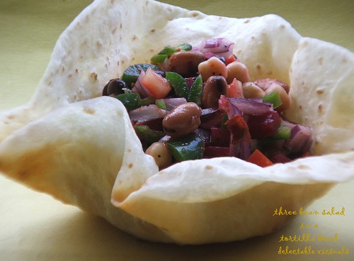 easy recipe tortilla bowl vegetarian three bean salad