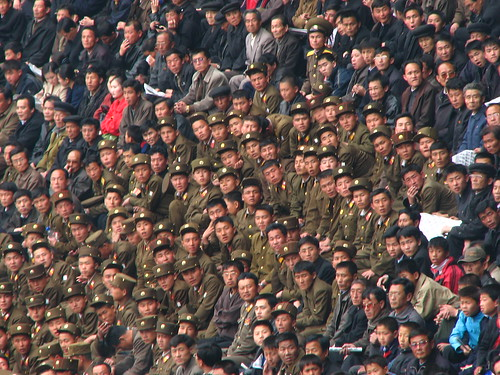 Pyongyang football crowd