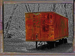 Rusting in the Clearing (FotoEdge) Tags: trees bw creek truck weeds stream rusted trailer clearing abigfave