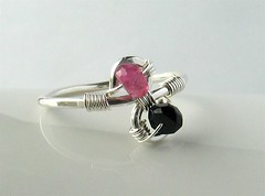 Pink & black tourmaline ring