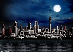 Kuwait   (Imran Khan - Always Pakistan First) Tags: blue sea sky moon black nature water beauty dark interesting searchthebest cloudy kuwait flickrcentral nightmode q8 imrankhan kuwaittower aplusphoto sialkoties pakistanies