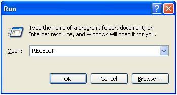 start registry editor form start menu