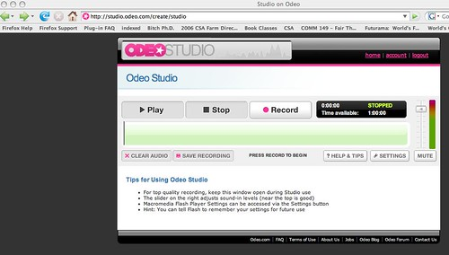 Odeo Studio page